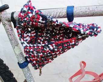 Crochet saddlebags for bicycle. Bike panniers. Black, red and white.