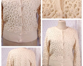 Lovley vintage 80's/very 60's in style hand knitted/crochet cream pure wool cardigan with faux pearls/hand made