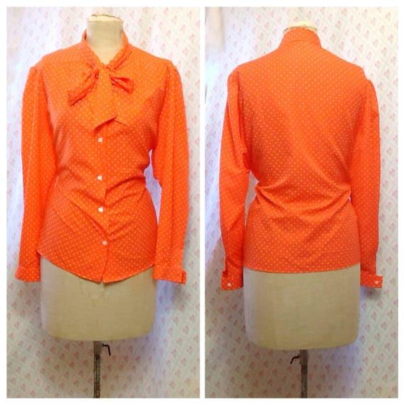 Fabulous Vintage 1970's bright orange and white po