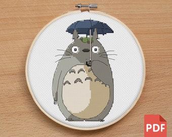 My Neighbour Totoro PDF file Cross stitch pattern | Studio Ghibli needlework embroidery craft hobby crossstitch pattern