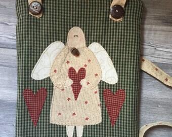Women's shoulder bag in fabric with applique, country-style shoulder strap, shoulder bag with inner pocket, shoulder strap with angel, zipper