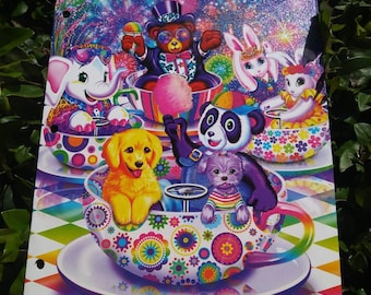 Lisa Frank Folder Rainbow Bear Dog Rabbit Bunnies Rabbits Fireworks