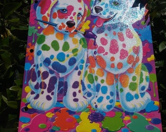 Lisa Frank Folder Rainbow Dalmatian Spotted Dog Dogs