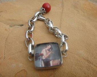 Vintage bracelet Vintage pinup girl chunky large bracelet statement
