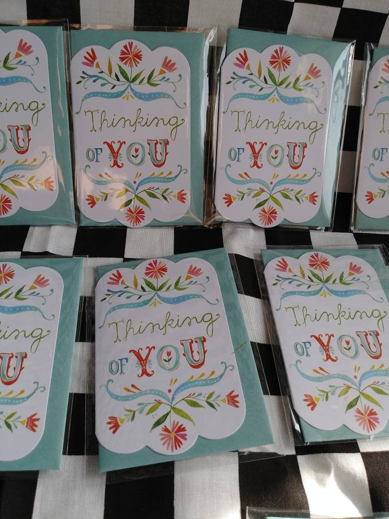 16 Mini Cards With envelops thinking of you miniature cards