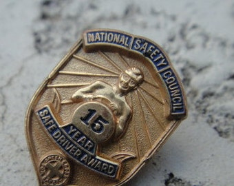 Vintage Pin National Safety Council 15 Year Safe Driver Award Vintage Jewelry Pin Pendant Driver Car Award