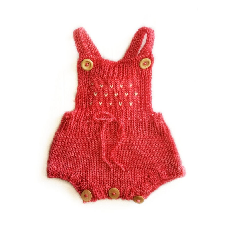 Ready to ship hand knitted romper sizes 0-5 years strawberry Waldorf baby shower gift baby toddler girl boy handknitted knits prop
