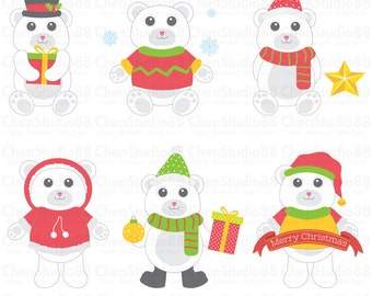 Christmas Polar Bears vector - Digital Clipart - Instant Download - EPS, PNG files included