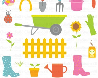 Garden vector - Digital Clipart - Instant Download - EPS, Pdf and PNG files included