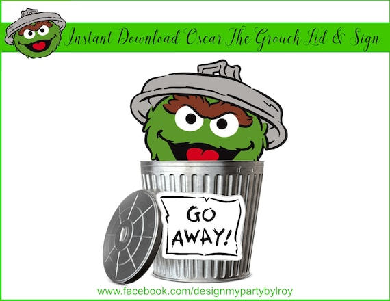 Instant Download Oscar The Grouch Trash Can Lid And Sign Oscar The Grouch Sesame Street Party Elmo Sesame Street Party Metal Buckets