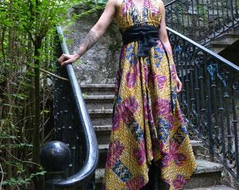 Dress african fern wax bare back-gold-holland / linen belt / 34 to 38