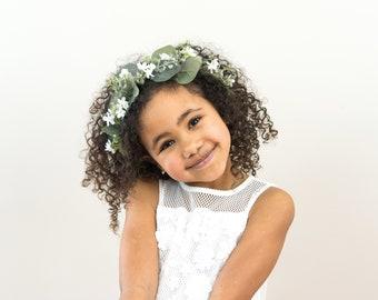 Eucalyptus Crown- Eucalyptus Flower Crown- Flower Girl Crown- Adult Eucalyptus Headband- Wedding Crown- Greenery Crown- Wax Flower Headpiece