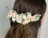 Floral Hair Comb with Blush and Ivory Flowers and Sage Greenery, Bridal Flower Comb, Bridal Headpiece