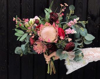 Protea Wedding Bouquet with Eucalyptus. Burgundy Bouquet. Magenta Bridal Flowers.