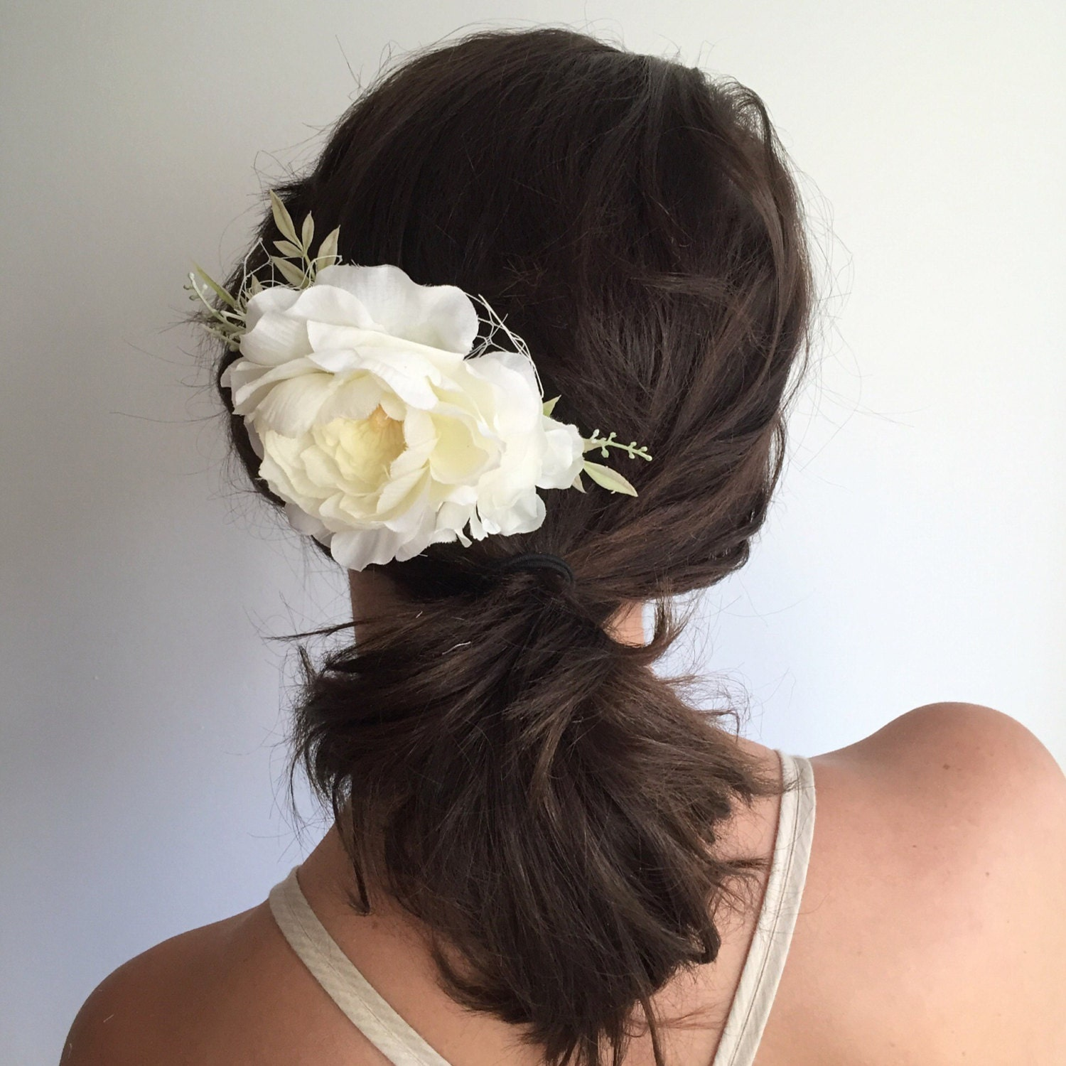 Floral Wedding Hair Comb By Britten: Ivory Bridal Hair Comb Ivory Flower Comb Floral Wedding