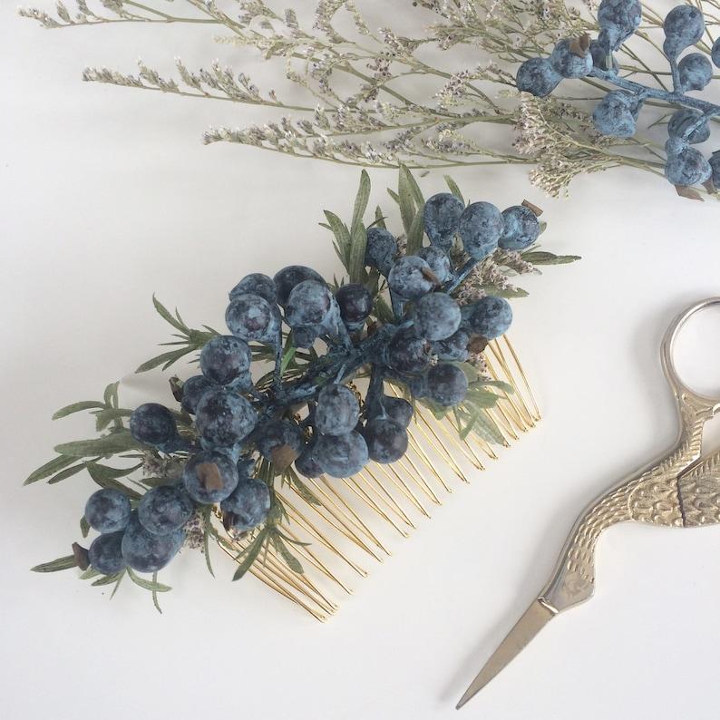 Navy Bridesmaids Headpiece Navy Bridal Hair Accessory Blueberry Comb Blueberry Wedding Hair Comb Something Blue Boho Wedding Headpiece