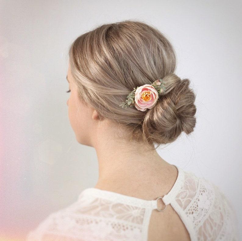 Floral Hair Pin Flower Hair Accessory Blush Hair Flower Bridesmaids Hair Pin Wedding Hair Pin Blush Flower Hair Pin Blush Bridesmaids