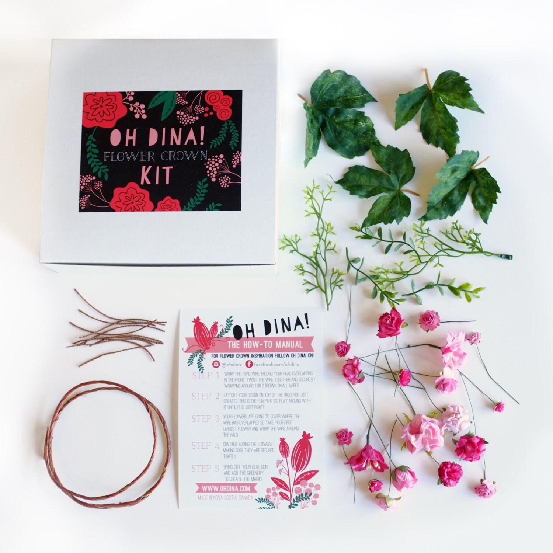 Pink diy flower crown kit kids flower crown kit pink flower etsy zoom izmirmasajfo