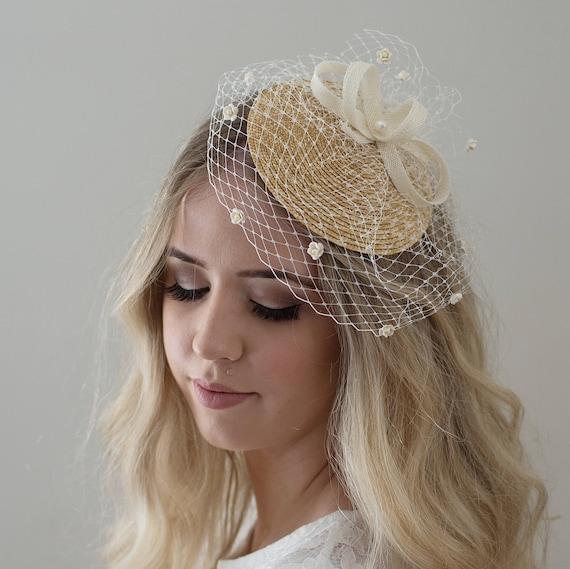 Headpieces For Weddings Ireland: Ivory Birdcage Veil Bridal Headpiece Ivory Fascinator