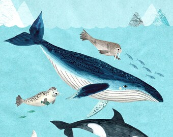 Arctic Waters - Giclee print of an original illustration