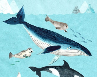 Arctic Waters...A3 size Giclee print of an original illustration