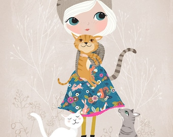 Cat Lover....Giclee print of an original illustration