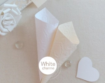 Kit cones rice holder in white or ivory/cream-theme Romantic hearts