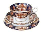 Royal Albert Imari Heirloom Teacup Trio, Gilded Imari English China Heirloom Teacup Set, Cup, Saucer Plate