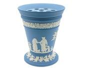 Wedgwood Offerings Blue Jasperware Frog Vase, White Relief Maternal Affection Cameos, Blue Jasper Vase w Pierced Stem Flower Arranger