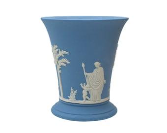 Wedgwood Sacrifice Blue Jasperware Vase, White Relief Classic Sacrifice to Love Design, 4-Inch Flared Blue Jasper Posy Vase