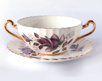 Royal Albert Old Country Roses Soup Coupe and Plate Set