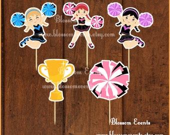 Cheerleaders cupcake toppers set 3