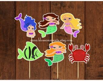 Mermaids Cupcake Toppers (12) set 2