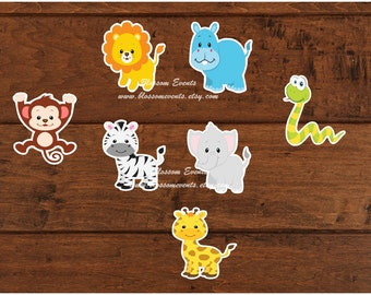 10 Safari Animals 4 inch diecuts