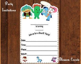 Sheriff Girl and Friends Invitations