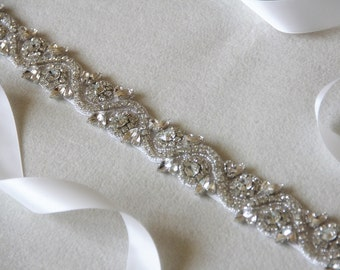 Bridal Belt, Wedding Belt, Bridal Sash, Wedding Accessory made of clear crystals and beads.