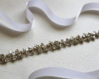 Wedding Belt, Bridal Belt, Bridal Sash, Crystal Belt, Wedding Accessory made of clear crystals and silver beads.