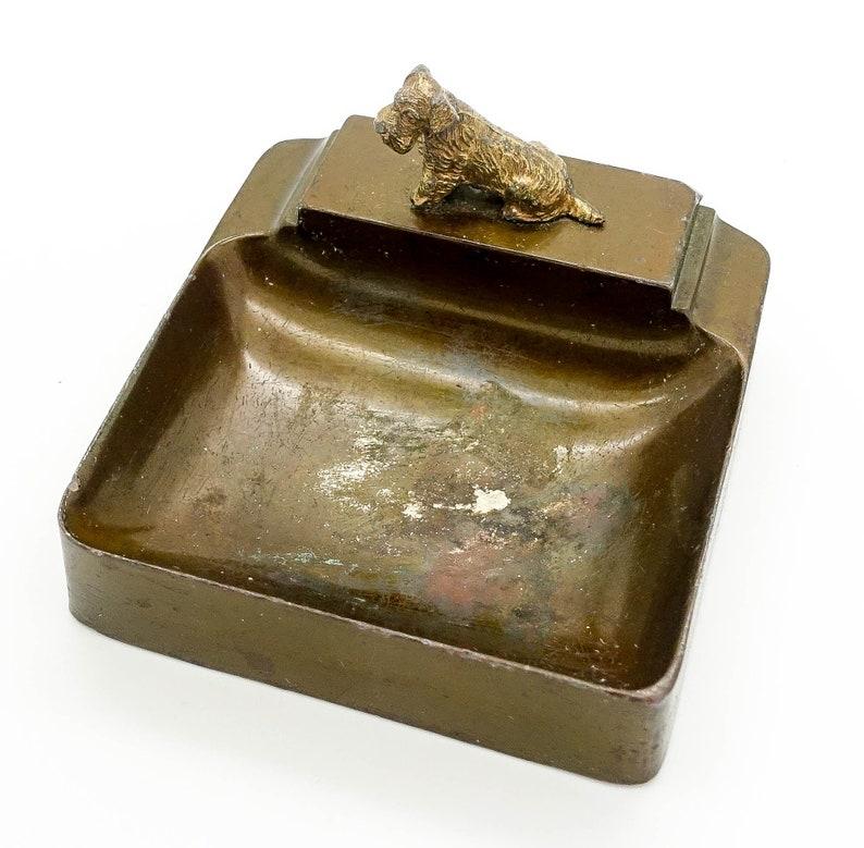 Antique Bronze Deco Scottie Dog Estate Ashtray  Pipe Stand  Rest  Holder  Stand