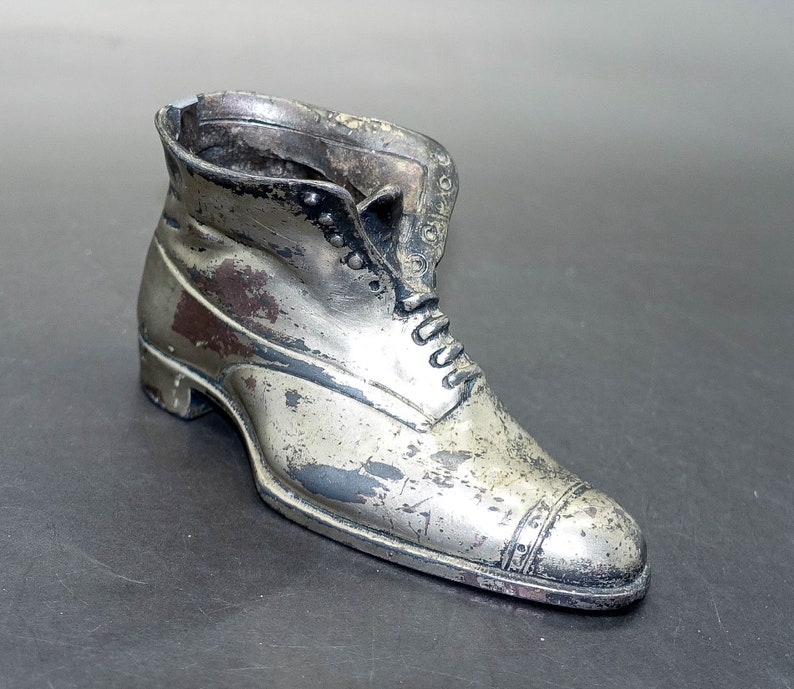 Jennings Brothers Silver Plated Boot Ashtray Match Holder Pin Cushion Pipe Cleaner Holder Trinket Dish
