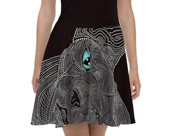 Sphynx Cat Skater Dress, Cat Dress, Little Black Cat Dress, Sphynx Cat Daisy, Custom Cat Dress, Black and White Cat Dress