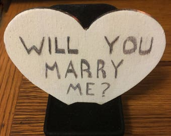 Will You Marry Me Wooden Proposal Heart Memento