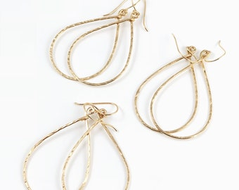 Teardrop textured hoops