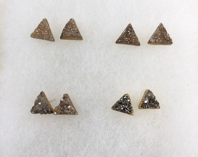 Triangle Druzy Studs