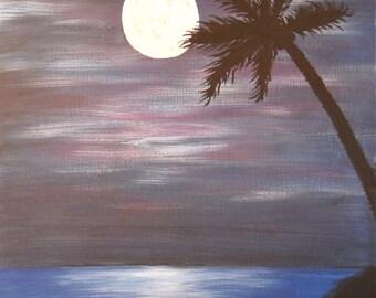 palm tree at night DIGITAL