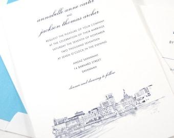 Savannah Skyline Wedding Invitation, Savannah Destination Wedding, Invite (Sold in Sets of 10 Invitations, RSVP Cards + Envelopes)