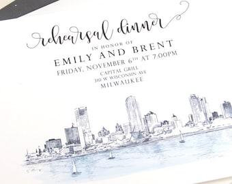 Milwaukee Skyline, Northwestern Building Rehearsal Dinner Invitations (set of 25 cards)