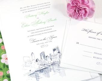 New York Central Park Wedding Invitation, New York Wedding, NY Wedding, NYC, Hand Drawn (Sold in Sets of 10 Invitations)