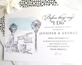 O/'Donnell House Palm Springs Skyline Weddings Rehearsal Dinner Invitations set of 25 cards