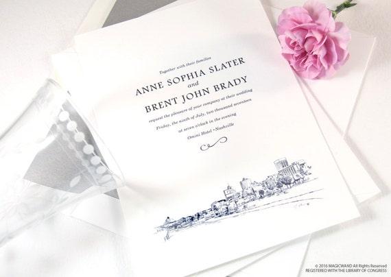 Wedding Invitations Memphis Tn: Memphis Skyline Pyramid View Wedding Invitations Package