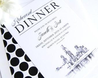 Chicago Skyline Hand Drawn Rehearsal Dinner Invitations (set of 25 cards)